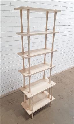 Sale 9134 - Lot 1065 - Painted timber open bookshelf (h:165 x w:60 x d:20cm)