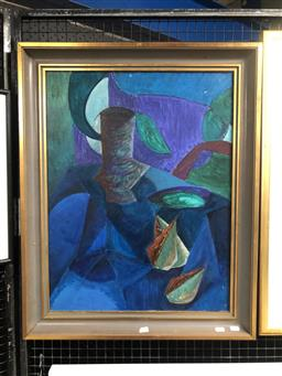 Sale 9147 - Lot 2024 - Artist Unknown Cubist Still Life oil on board 78 x 62cm (frame) unsigned