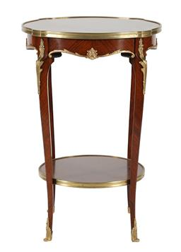 Sale 9245J - Lot 43 - A quality French 19th century occasional table, with parquetry inlay and ormolu mounts, H 75cm x W 49cm.
