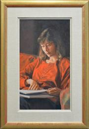 Sale 8297 - Lot 516 - Brian James Dunlop (1938 - 2009) - Girl Studying 56.5 x 31.5cm
