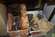 Sale 8509 - Lot 2347 - 2 Boxes of Sundries incl. Phones, Glasses, Metalwares, etc
