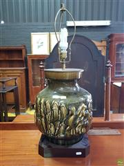 Sale 8617 - Lot 1025 - Large Chinese Style Olive Glazed Ceramic Lamp, with three good wishes luck, health & wealth, on timber base (wiring needs attention)