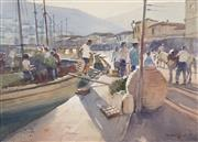 Sale 8730 - Lot 2001 - Robert Lovett (1930 - ) - Fishing Port 49 x 68cm