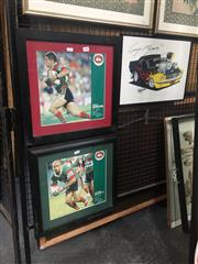 Sale 8751 - Lot 2088 - 3 Works: Two Framed Rabbitohs Prints & One Motor Racing