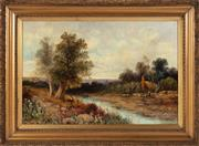 Sale 8871H - Lot 141 - Fred Hall (1860 - 1948) British, Summers Day, oil on canvas, signed. 51cm x 77cm