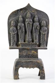 Sale 8897 - Lot 75 - Small Bronze Panel Featuring Five Buddhas, H23cm