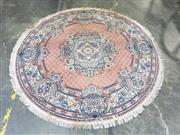 Sale 9051 - Lot 1013 - Persian Pink and Blue Tone Carpet with Floral Central Medallion (D:199cm)