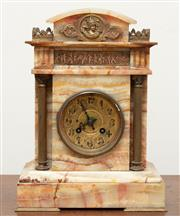 Sale 9070H - Lot 100 - An alabaster mantle clock with brass adornments, Height 31cm x Width 23cm x Depth 14cm