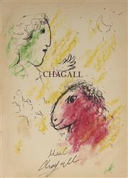 Sale 9084 - Lot 563 - Attributed to Marc Chagall (1887 - 1985) - Male Figure & Horse (Collection Dirigée Par Jacques Lassaigne) 18 x 13 cm (sheet)