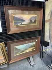 Sale 9072 - Lot 2050 - William Lindley (2 works) New Zealand Lake Scenes oil on academic board, 43 x 74cm, each