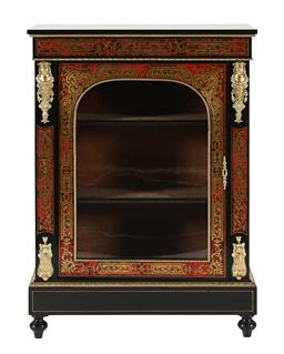 Sale 9245J - Lot 11 - A French 19th century boulle pier cabinet, with fine brass inlay and ormolu mounts, H 108cm x W 77cm.