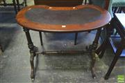 Sale 8390 - Lot 1045 - A Victorian Inlaid Walnut Kidney Shaped Desk with leather top on turned supports and stretcher