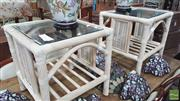 Sale 8398 - Lot 1003 - Pair of Cane Based Side Tables w Glass Tops (1 top chipped)