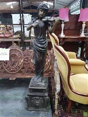 Sale 8617 - Lot 1007 - Bronze Violinist Water Feature, the young woman playing the violin (with three jets), standing on an integrated pedestal with lions...