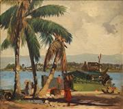 Sale 8633 - Lot 516 - Henry Hanke (1901 - 1989) - Alexishafen North, New Guinea 1943 35 x 44cm