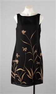 Sale 8685F - Lot 56 - A Finity Studio black silk sleeveless dress printed with bronzed flowers, size 6