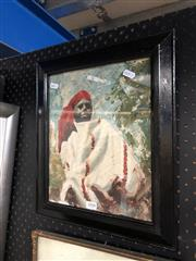 Sale 8811 - Lot 2008 - Artist Unknown Portrait of Desert Noman oil on board, 37.8 x 32.5cm, intialled lower left -