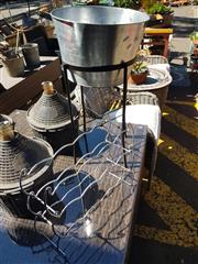 Sale 8822 - Lot 1501 - Metal Ice Bucket on Stand & Wine Rack (2)