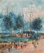 Sale 8867 - Lot 501 - Wilmotte Williams (1916 - 1992) - Bus Stop, Hyde Park 59.5 x 48.5 cm