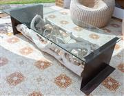 Sale 9066H - Lot 200 - A skeleton wood glass top coffee table with steel end supports. H 46cm W 170cm D 70cm