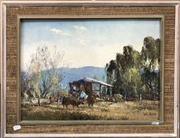 Sale 9103 - Lot 2065 - Terry Gleeson Cattle Yard oil on board 53 x 63cm, signed