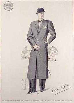 Sale 9142A - Lot 5098 - Antique French Lithograph - La mode offcielle de Paris – Été 1936 Plate 269 36 x 26 cm (frame: 53 x 43 cm)