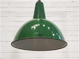 Sale 9154 - Lot 1093 - Vintage green enamel factory shade (h:73 x d:44cm)
