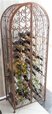 Sale 8338A - Lot 44 - A wire caged arched wine rack, H 157 x W 62cm
