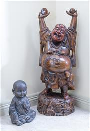 Sale 8489A - Lot 4 - A carved timber Buddha on organic base, H 110cm, together with a carved timber figure of a seated child in flowing robes, H 40cm