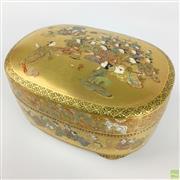 Sale 8589R - Lot 14 - Superb Oval Shaped Satsuma Jewellery Casket (W: 14cm)