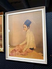 Sale 8682 - Lot 2069 - Vintage Sau Ohn Nyu Print of a Seated Woman (AF), 67 x 55cm
