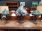 Sale 8697 - Lot 1027 - Small Pair of Leadlight Shade Table Lamps and Another (3)