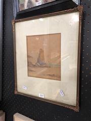 Sale 8811 - Lot 2009 - James Swinton Diston Beach Scene with Rock Formation watercolour, 17 x 15cm, signed lower left -