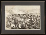 Sale 8873A - Lot 18 - A newspaper engraving of the Battle of Balaclava, attack of the Scots Grays, from the Illustrated London News, Nov 25th 1864, framed...