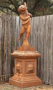 Sale 8871H - Lot 48 - A composition statue of a young boy on a plinth. Signed Durenne Paris, height 194cm