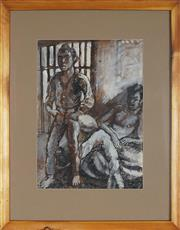 Sale 8936 - Lot 2061 - John Bell (1938 - ) Two Men at Ease ink and gouache 48 x 35cm, unsigned -