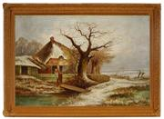 Sale 8981 - Lot 2043 - Artist Unknown - Farmhouse in Winter 38.5 x 59.5 cm (frame: 53 x 73 x 7 cm)
