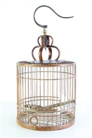 Sale 8972 - Lot 56 - Vintage Chinese Rustic Timber Bird Cage (total height 56cm, cage only height 29.5cm)