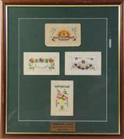 Sale 8994W - Lot 637 - A Set Of Framed WWI greeting Cards (58cm x 48cm)