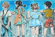 Sale 9009A - Lot 5007 - David Bromley (1960 - ) - Kids at the Fence 37 x 54 cm (frame: 79 x 94 x 3 cm)