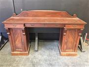 Sale 9031 - Lot 1082 - Victorian Mahogany Sideboard, with low back, three shallow friezer drawers & pedestals with timber panel doors (H:107 x w:168 x d:47cm)