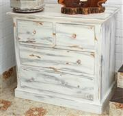 Sale 9066H - Lot 201 - A chest of two short and two long shabby chic drawers on plinth base. H 94cm W 101cm D 60cm