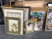Sale 9087 - Lot 2072 - Group of five assorted artworks including a map of Asia and the Americas,  watercolour, contemporary Australiana and contemporary ar...