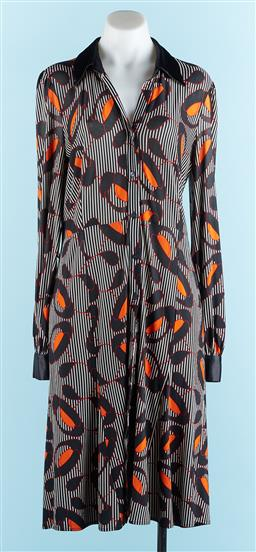 Sale 9091F - Lot 91 - A HOWARD SHOWERS BUTTON UP LONG SLEEVE DRESS;  95% polyester 5% spandex, size 12