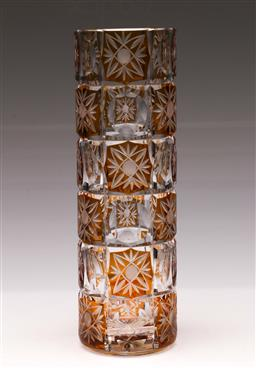 Sale 9110 - Lot 68 - A Czechoslovakian golden amber cut crystal cylinder vase (H:30cm)