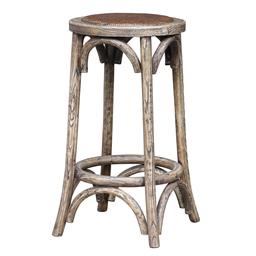 Sale 9250T - Lot 33 - A pair of old elm bar stools with rattan seats. Height 65cm x Width 38cm x Depth 38cm