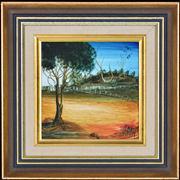 Sale 8344 - Lot 572 - Kevin Charles (Pro) Hart (1928 - 2006) - Landscape with Birds 14 x 14cm