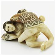 Sale 8387 - Lot 83 - Meiji Ivory Carved Erotic Figure Group