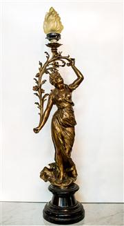 Sale 8516A - Lot 78 - A French Art Deco figural lady lamp, bronzed spelter on its original timber base, featuring original flame shade, c1920s, rewired w...