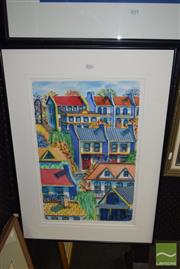 Sale 8509 - Lot 2016 - Alison Ashley - Terrace Houses, watercolour, frame size 72 x 52cm, signed lower left